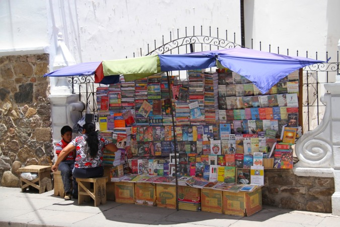Book seller on the street, Sucre, Bolivia