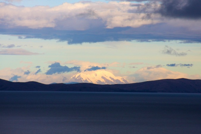 The Cordillera Real looms over Lake Titicaca, Bolivia