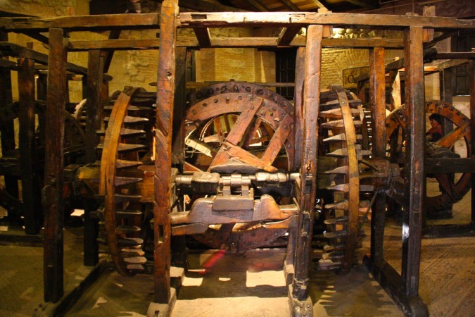 One of the giant machines used to flatten the silver, Casa de la Moneda, Potosi, Bolivia