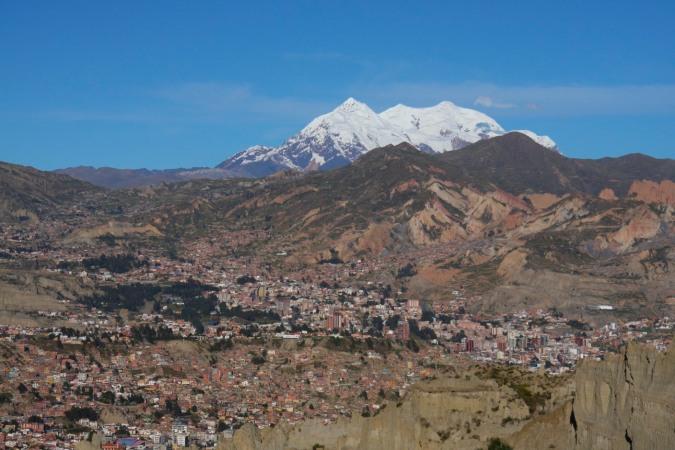 La Paz with Illimani in the background, Bolivia