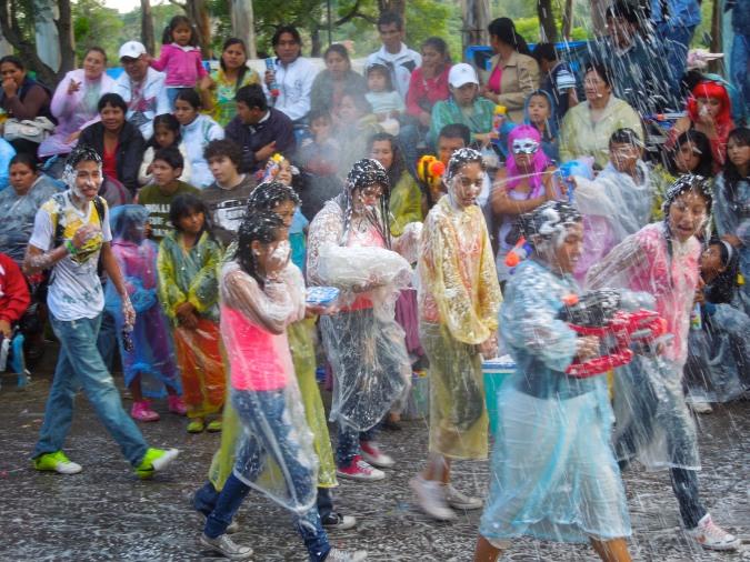 Foam victims at carneval, Tarija, Bolivia