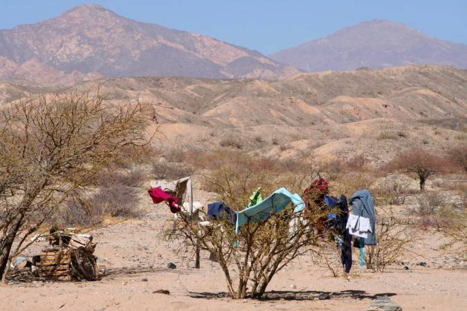 Washing drying on the Ruta 40 between Molinos and Cafayate, Argentina