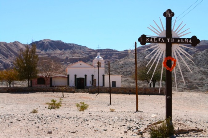Church on the Ruta 40 between Molinos and Cafayate, Argentina