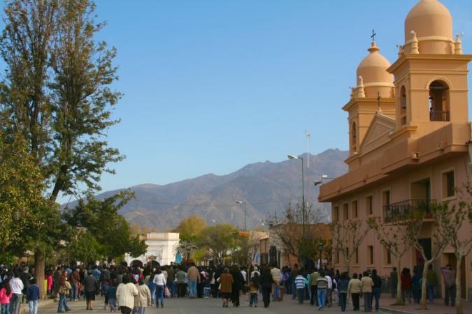 Religious procession leaving the Catedral de Nuestra Senora del Rosario, Cafayate, Argentina