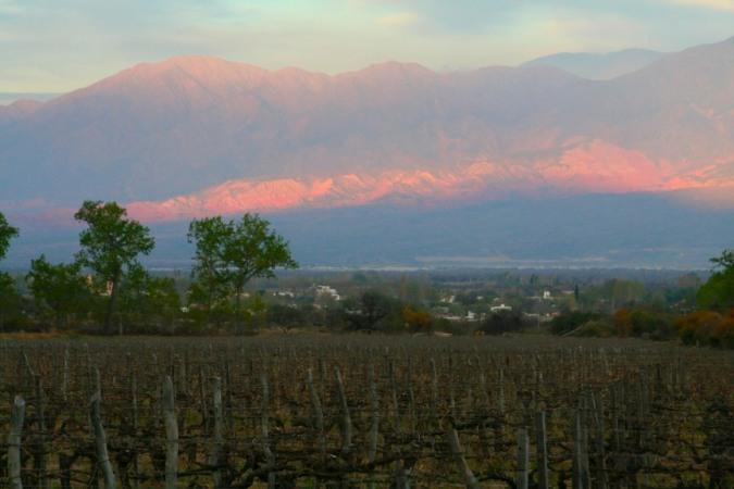 Sunset over Cafayate from Viñas de Cafayate Wine Resort, Cafayate, Argentina