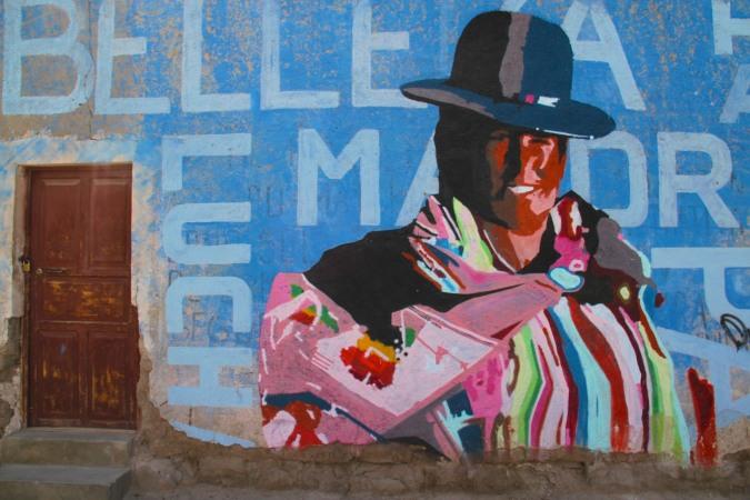 Indigenous street art, Uyuni, Bolivia