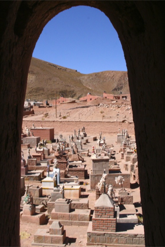 Cemetery viewed from the bell tower, adobe church, Susques, Argentina