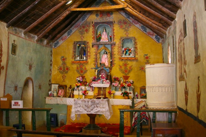 Altar in the church, Susques, Argentina