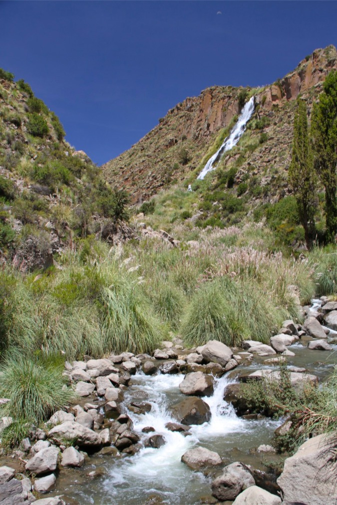 Waterfall at the end of the Cayara Valley, Potosi, Bolivia
