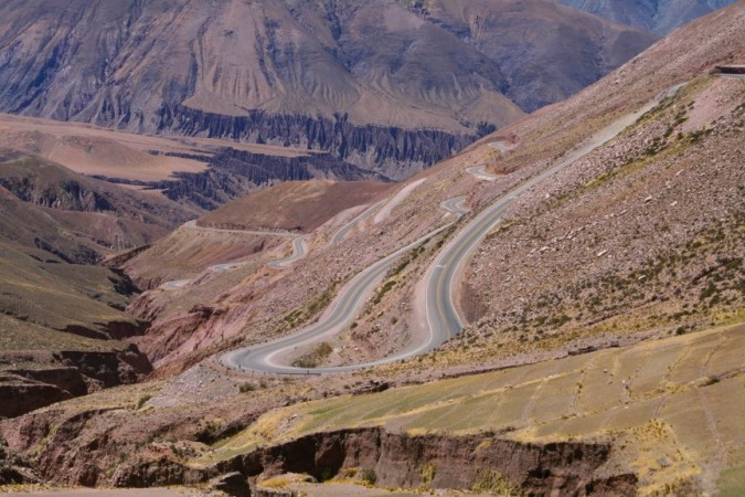 The dramatic hairpins of the Cuesta de Lipan, Argentina