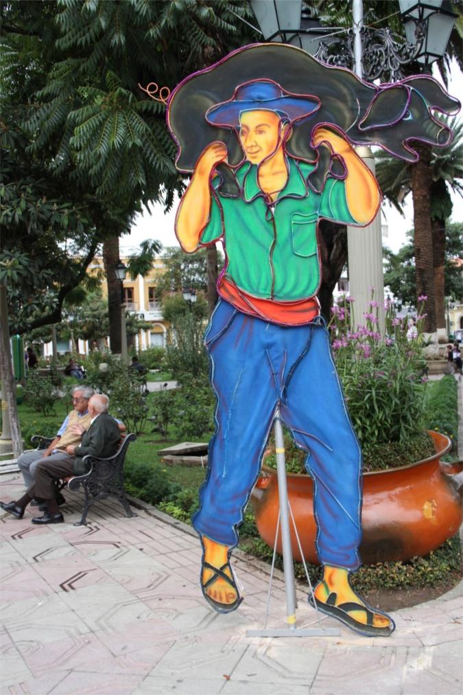 Artwork in Tarija's Plaza Luis Fuentes y Vargas, Bolivia