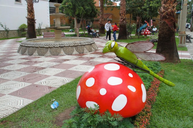 Artwork in one of Tarija's plazas, Bolivia