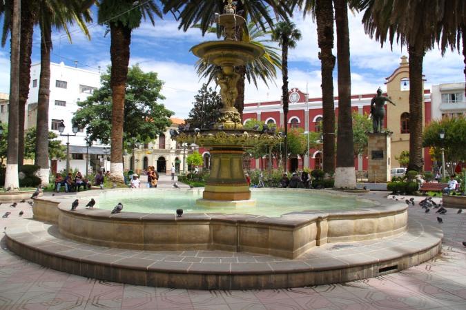 Tarija's leafy Plaza Luis Fuentes y Vargas, Bolivia