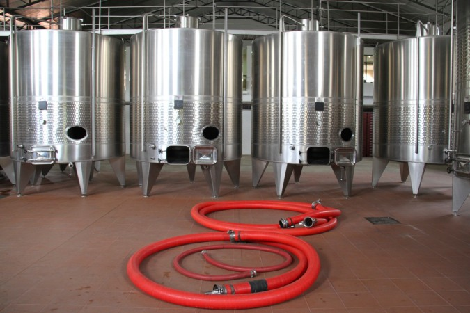 Big metal things for wine, Campos de Solana, Tarija, Bolivia