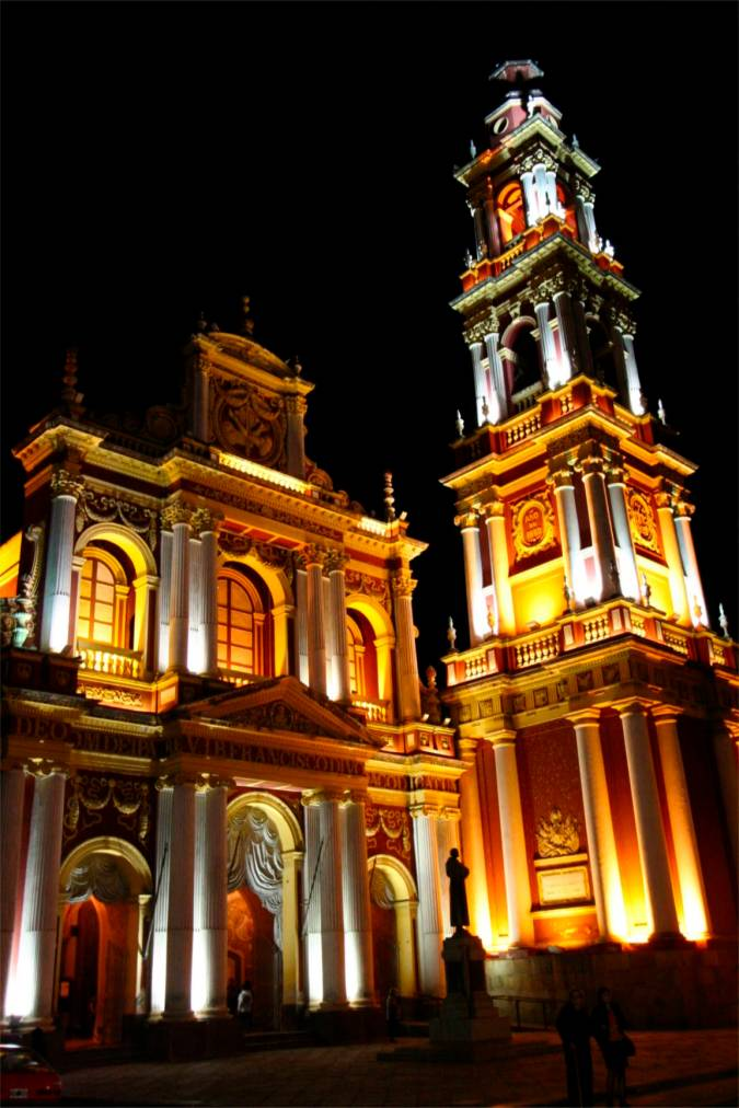 Iglesia San Francisco at night, Salta, Argentina