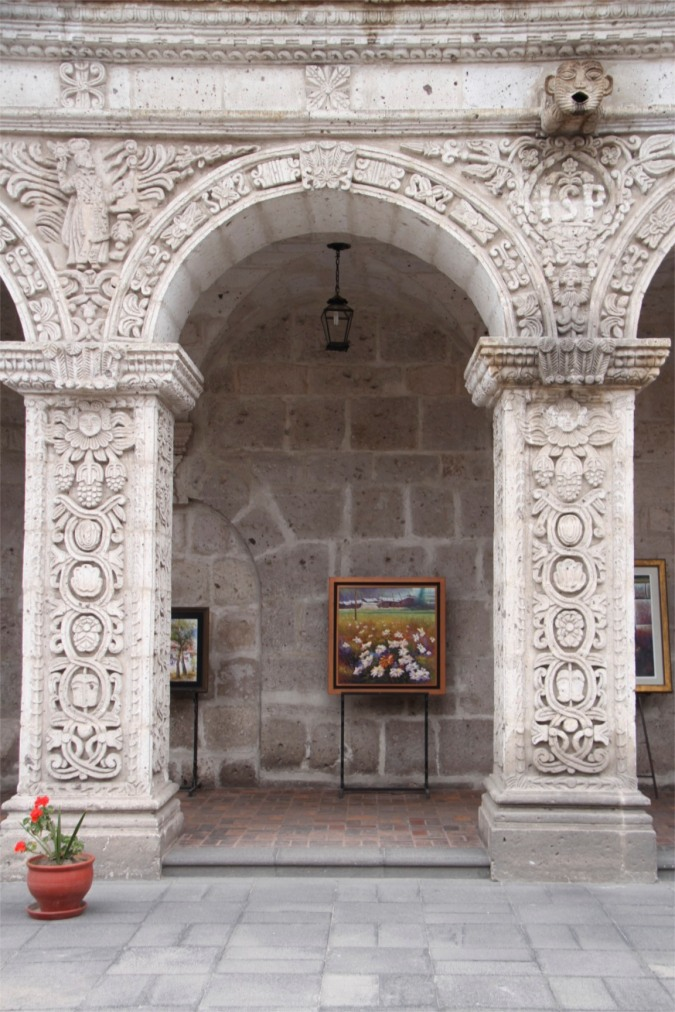 Arch in colonial-era quadrangle, Arequipa, Peru