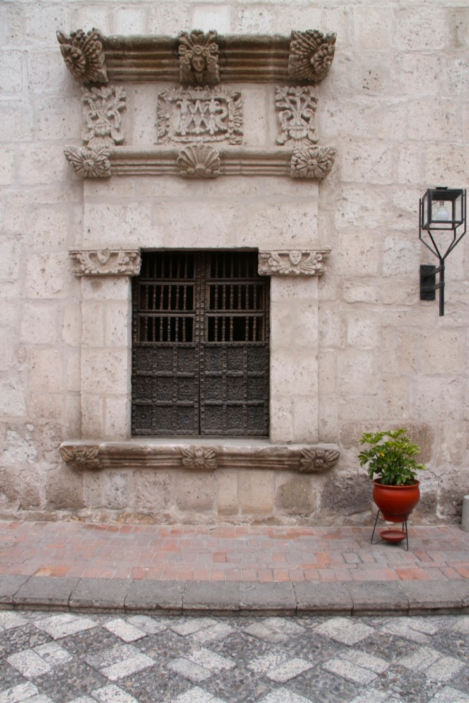 Ornate window, Arequipa, Peru