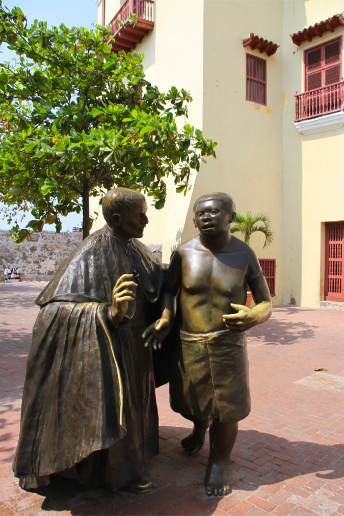 Statue of monk Pedro Claver who worked to help African slaves, Cartagena, Colombia