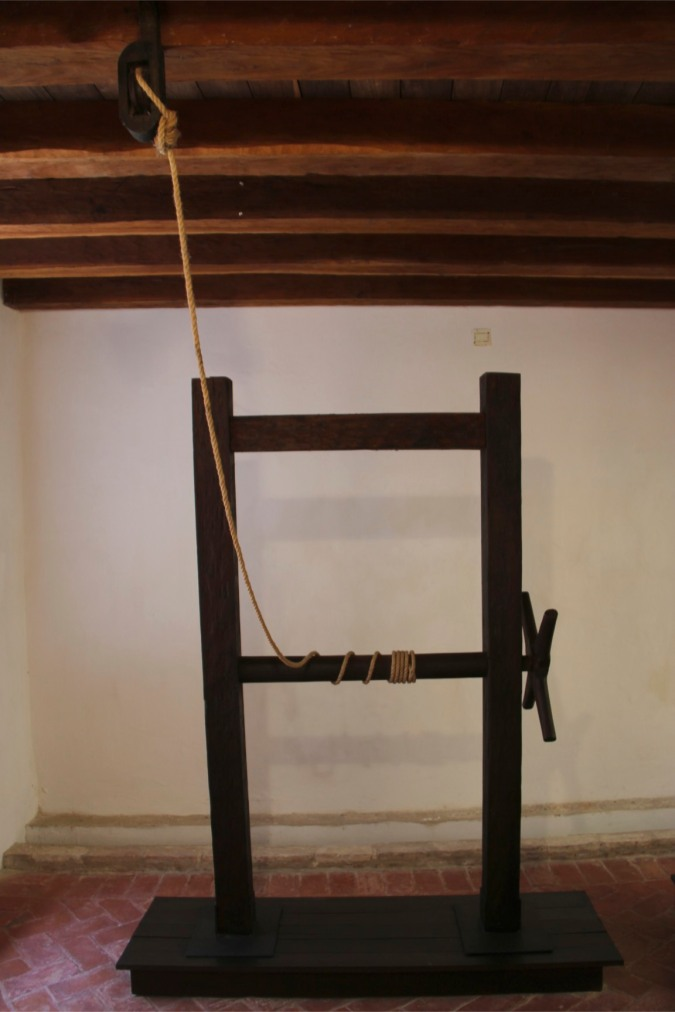 La Garrucha, an instrument of torture, Palace of the Inquisition, Cartagena, Colombia