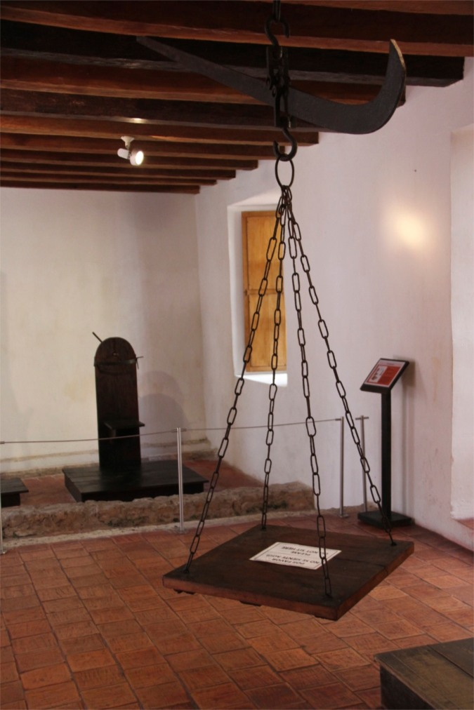 Witch's ducking stool, Palace of the Inquisition, Cartagena, Colombia