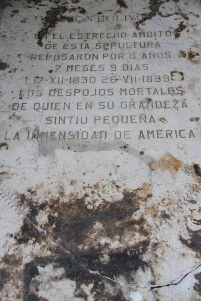 Inscribed flagstone over Bolivar's tomb, Cathedral, Santa Marta, Colombia