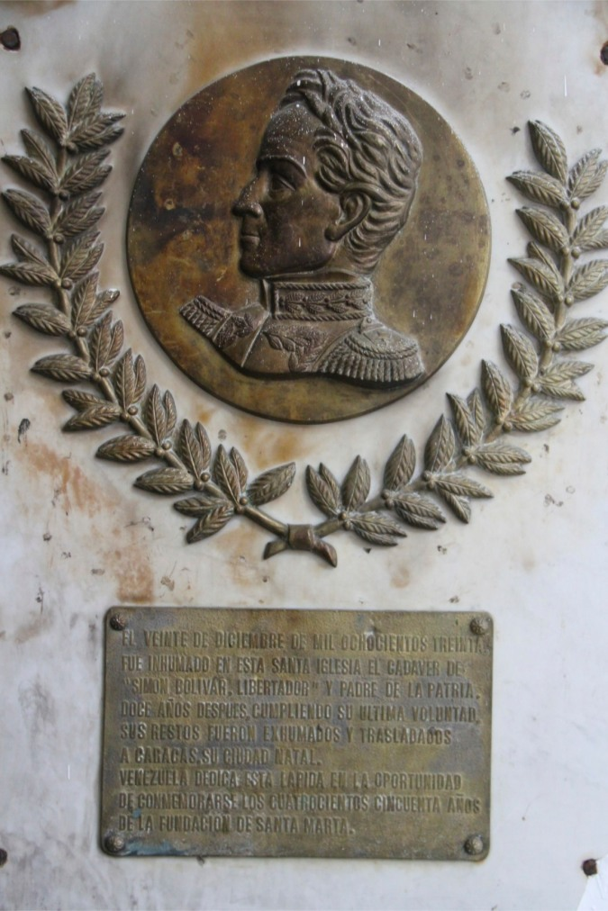 Plaque commemorating Simon Bolivar, Cathedral, Santa Marta, Colombia