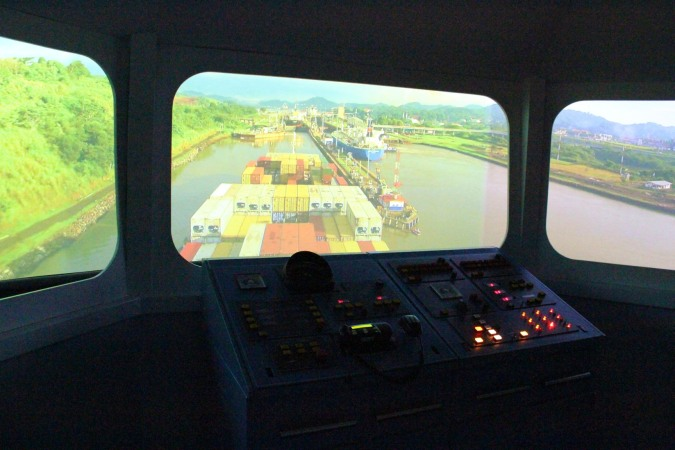 Simulator at Miraflores Locks museum, Panama Canal, Panama