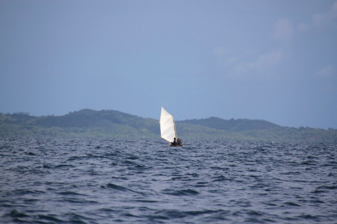 Kuna canoe with sail, San Blas Islands, Panama