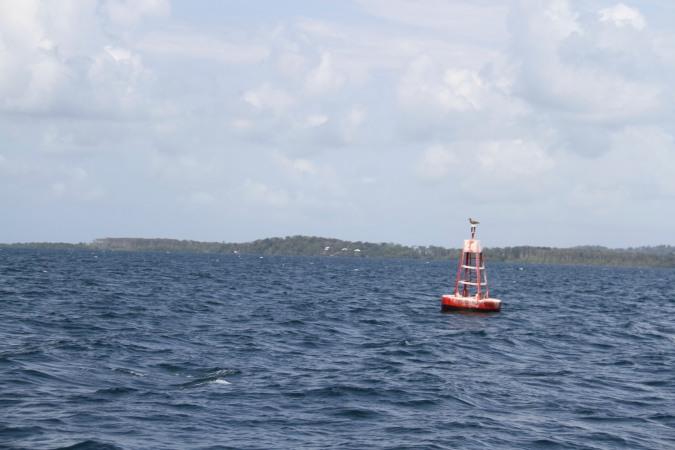 Sailing toward Isla de San Cristobal, Bocas del Toro, Panama