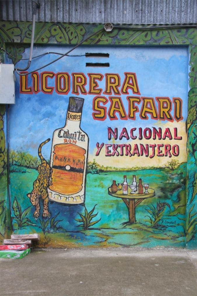 Booze advert, Cahuita, Costa Rica