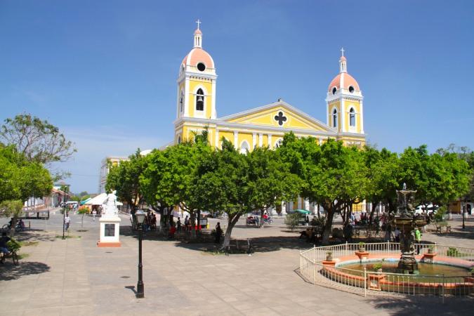 Cathedral and main plaza. Granada, Nicaragua
