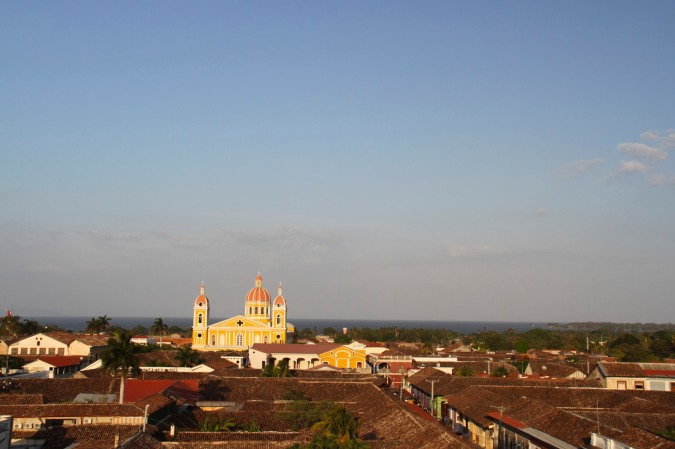 View of the cathedral and rooftops of Granada, Nicaragua