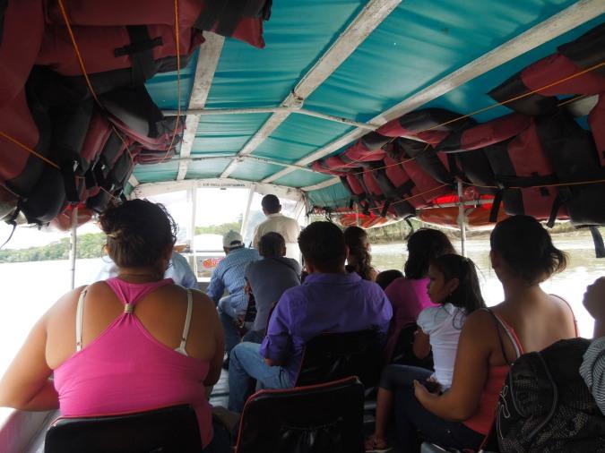Inside a panga, Rio San Juan, Nicaragua