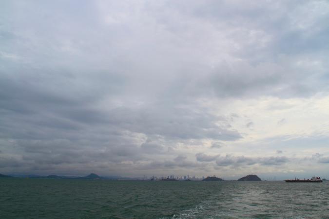 Panama City from the ocean en route to Isla Taboga, Panama