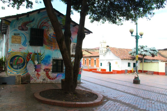 Plaza in the Candelaria district of Bogota, Colombia