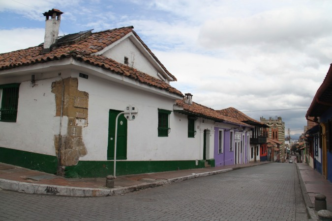 Colonial buildings in the Candelaria district of Bogota, Colombia