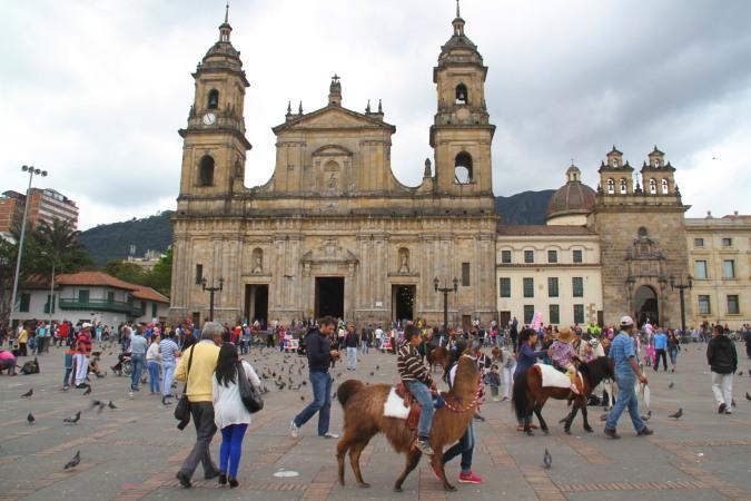 Cathedral Primada in Plaza Bolivar, Bogota, Colombia