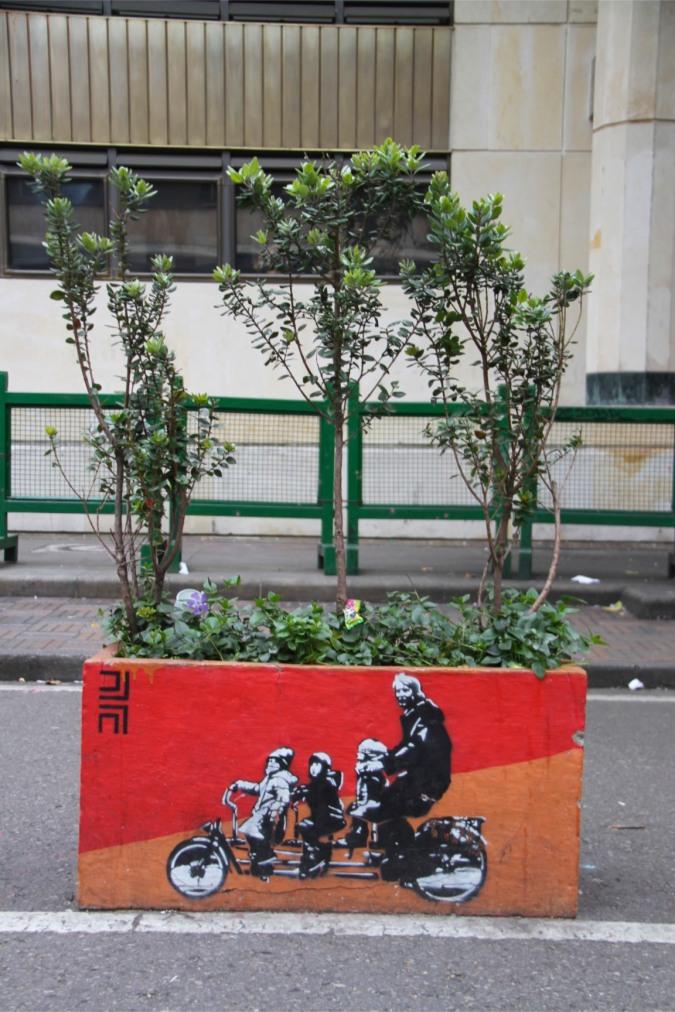 Plant pot street art, Bogota, Colombia