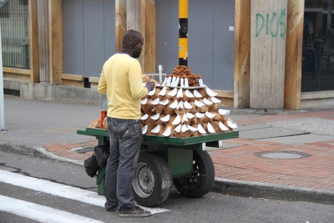 Coconut seller, Bogota, Colombia