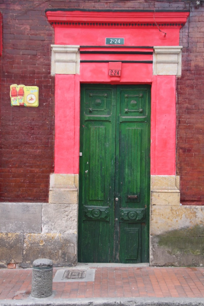 Doorway in the Candelaria district, Bogota, Colombia