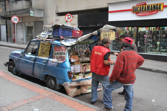 Car as corner shop, Bogota, Colombia