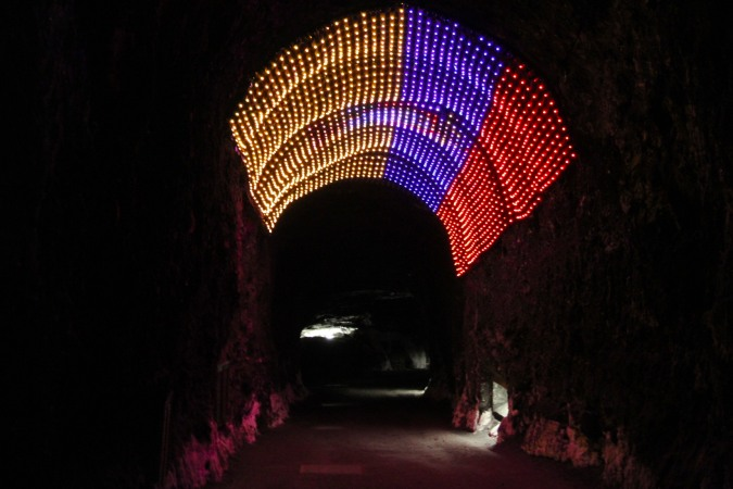 Entrance tunnel to the Cathedral del Sal, Zipaquira, Colombia