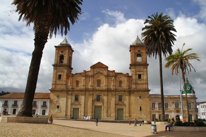 Main plaza with church, Zipaquira, Colombia
