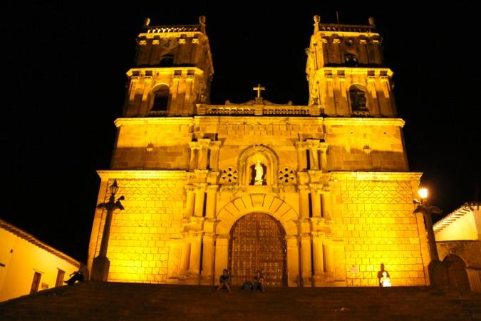 Cathedral at night, Barichara, Colombia