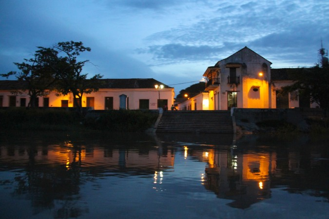 Mompox by night from the Rio Magdalena, Colombia