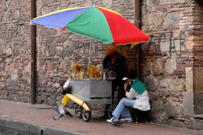 Food stall in the Candelaria district, Bogota, Colombia