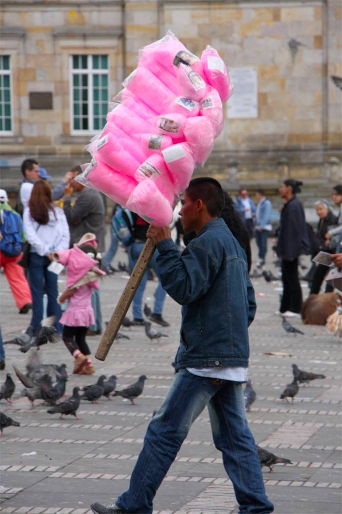 Candy floss seller in Plaza Bolivar, Bogota, Colombia