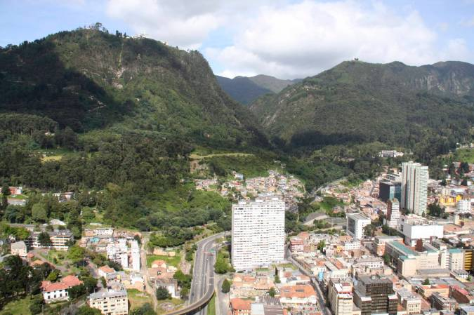 View toward Cerro Monserrate from Mirador Torre Colpatria, Bogota, Colombia