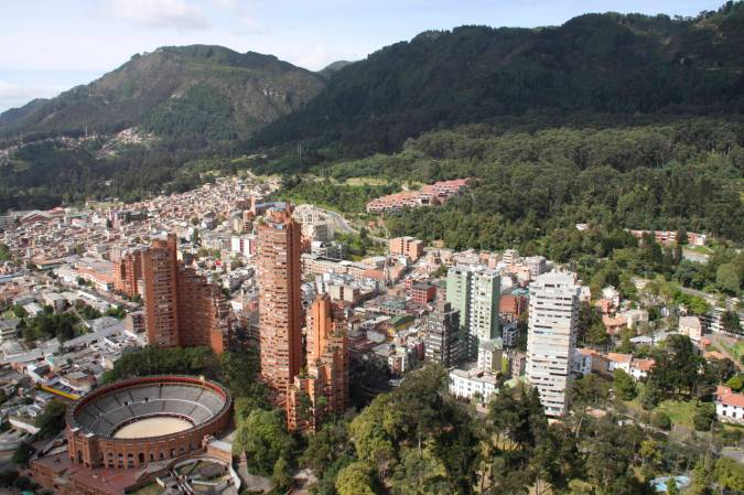 View of the bullring from Mirador Torre Colpatria, Bogota, Colombia