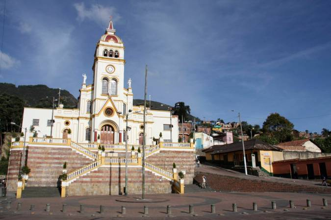 Church on the edge of the Candelaria district, Bogota, Colombia